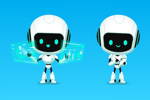Set of cute robot ai character analyze and note action,