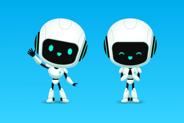 Set of cute robot ai character, greeting and pay respect action