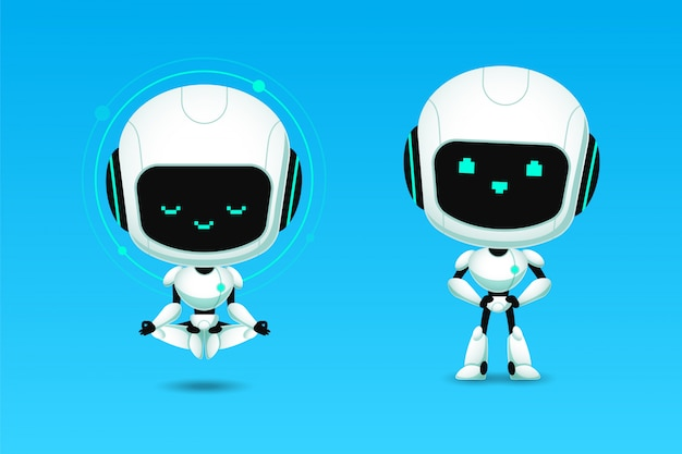 Set of cute robot ai character meditation and confidence action