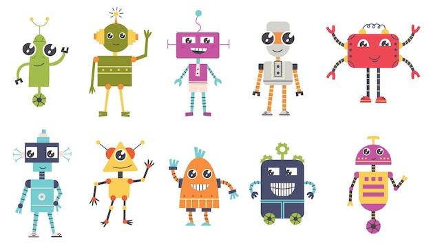 Set cute robot characters