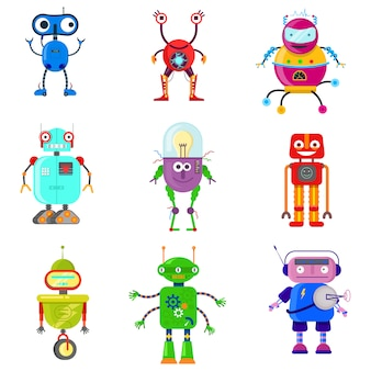 Set of cute robots in flat style on white