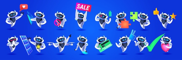 Set cute robots modern robotic characters collection artificial intelligence technology concept horizontal vector illustration