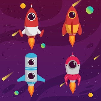 Set of cute rocket space with colorful galaxy