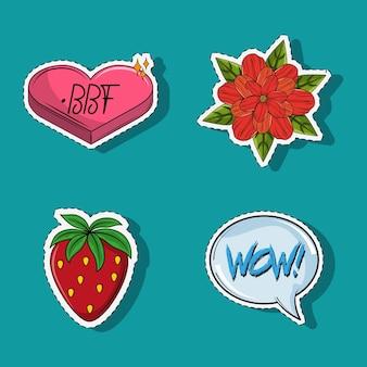 Set of cute and romantic cartoons
