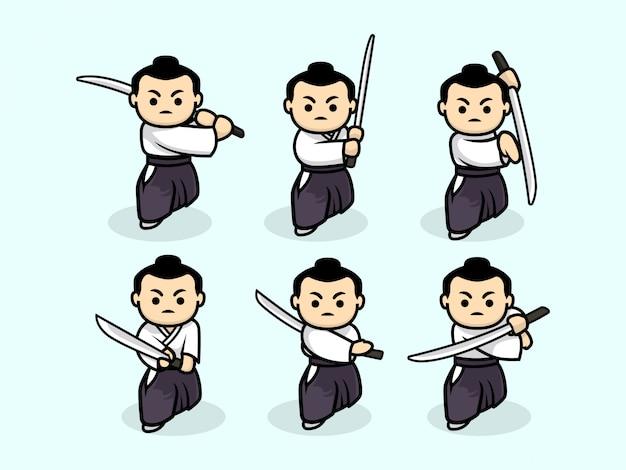 Set of cute samurai character design illustration template