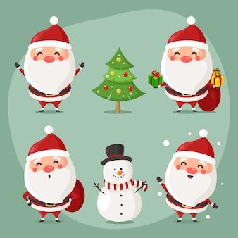 Set of cute santa character use for illustration or mascot