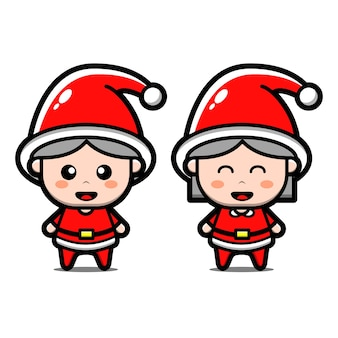 Set of cute santa christmas cartoon character