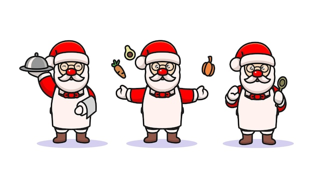 Set of cute santa with cooking costume