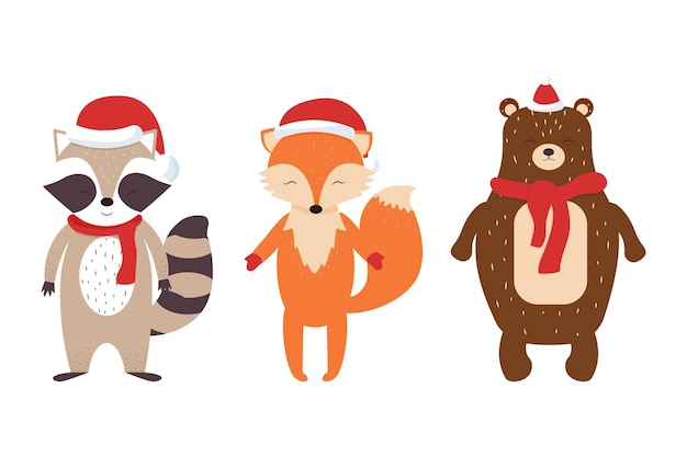 Set of cute scandinavian animals fox racoon bear in christmas hats and scarves