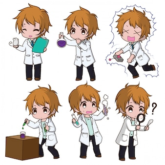Set cute scientist cartoon character., job concept.