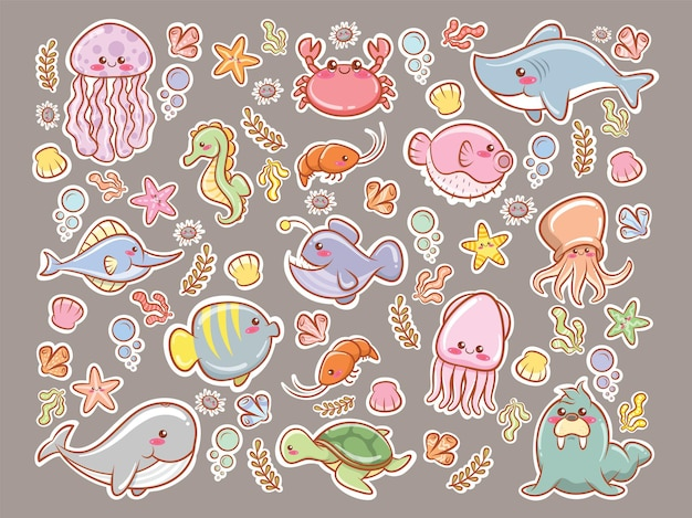 Set of a cute sea animal sticker cartoon character and illustration