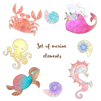 Set of cute sea animals octopus seahorse whale and jellyfish.