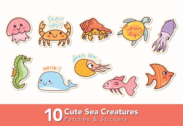 Set of cute sea creatures patches and sticker