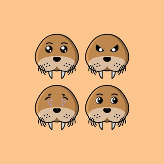 Set cute seals cartoon head character with different expression vector illustration