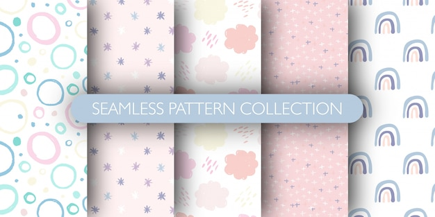 Set of cute seamless pattern for baby. rainbow, circle, cloud, stars pattern collection.