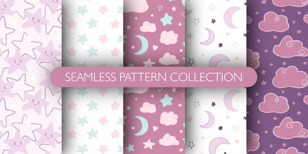 Set of cute seamless pattern for baby. stars, cloud, moon pattern collection.