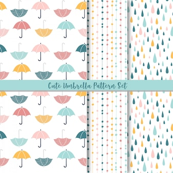 Set of  cute seamless patterns. rain and umbrella.