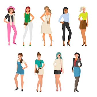 Set of cute, sexy girl in different fashion clothes