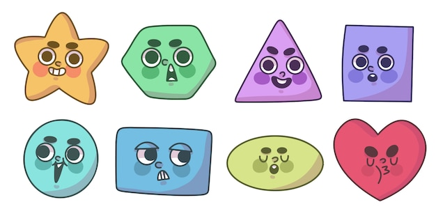 Set of cute shapes with faces doodle