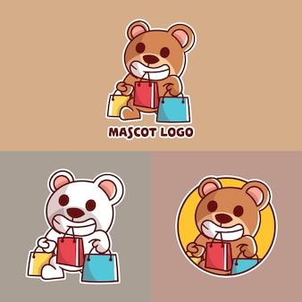 Set of cute shopping bear  mascot logo