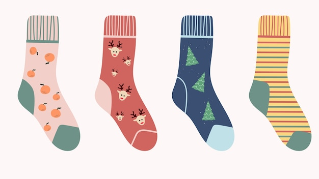 Set of cute socks with christmas and new year prints on a white background