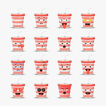 Set of cute soda cup with emoticons