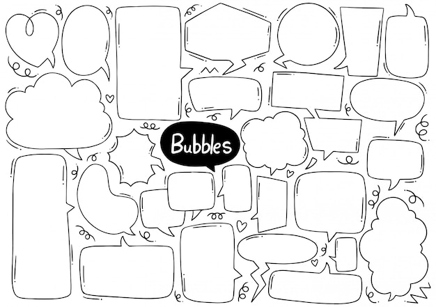 Set of cute speech bubble in doodle style