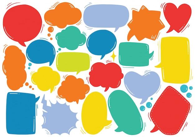 Set of cute speech bubble in doodle style