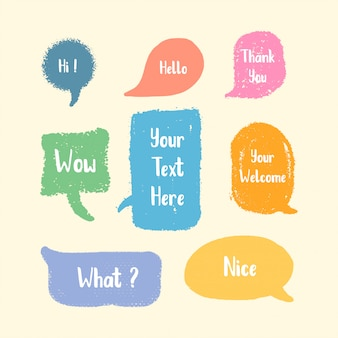 Set of cute speech bubble hand drawn colorful brush style