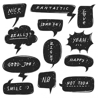 Set of cute speech bubble with grunge texture