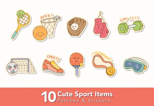 Set of cute sport items stickers