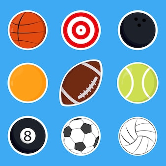 Set of cute sports vector illustration