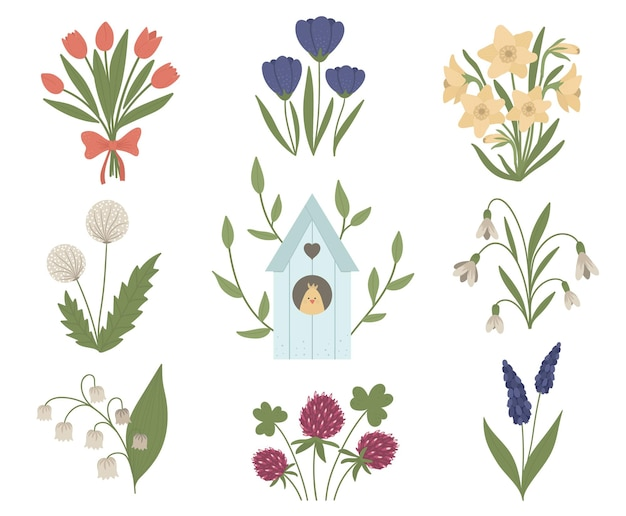 Set of cute spring flowers and starling-house with chick inside. first blooming plants illustration with bird house. floral clip art collection