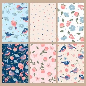 Set of cute spring seamless patterns with birds and flowers