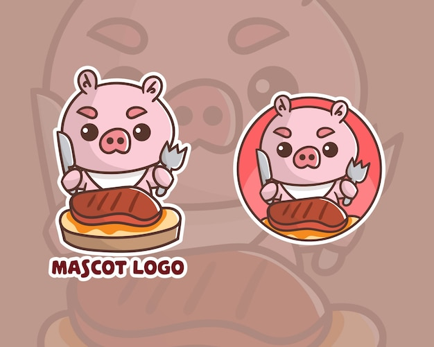 Set of cute steak pork mascot logo with optional apprearance.