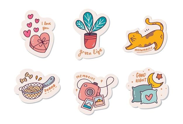 Set of cute sticker design