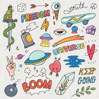Set of cute sticker, graffiti doodle, fashion patches