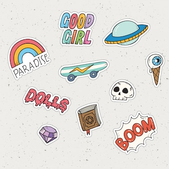 Set of cute sticker set