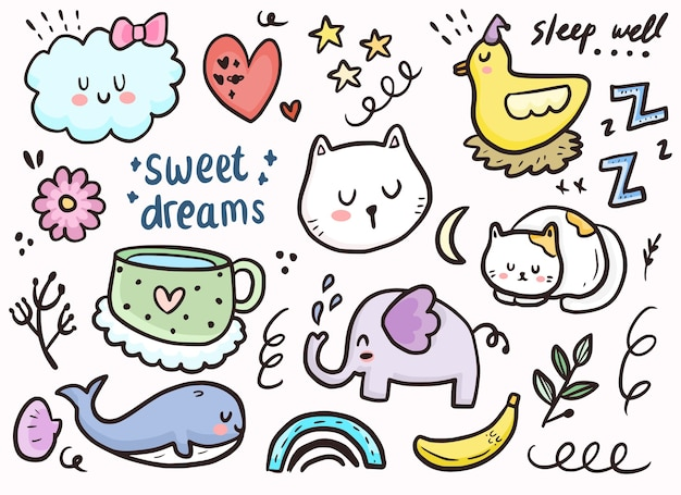Set of cute sticker sleeping cat, clouds and animal doodle drawing collection