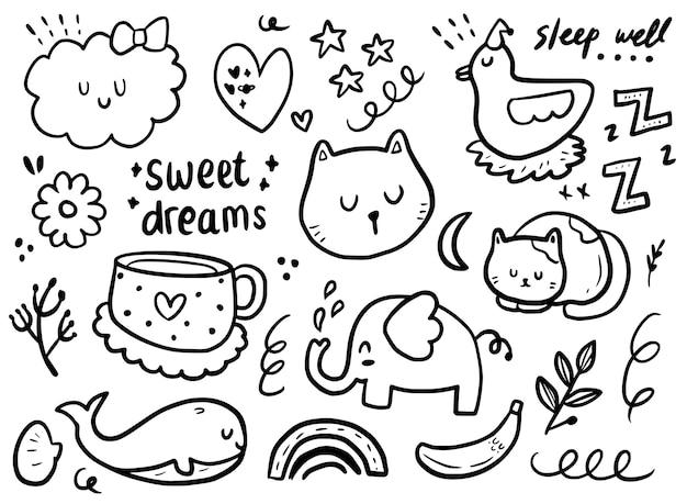 Set of cute sticker sleeping cat