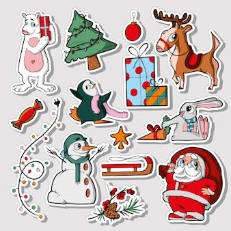 Set of cute sticker template decorated