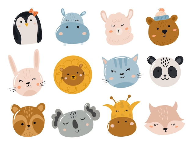 Set of cute stickers with animals head and face
