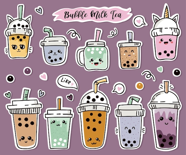 Set of cute stickers with bubble tea or pearl tea