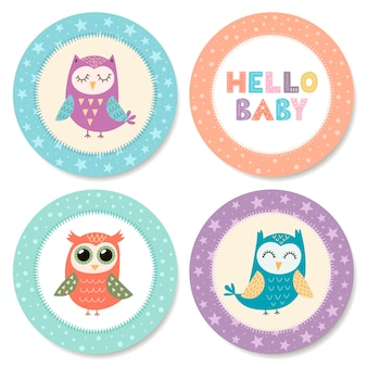 Set of cute stickers with owls for baby shower.   illustration