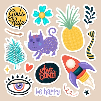 Set of cute stickers