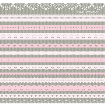 Set of cute straight lace in pastel pink