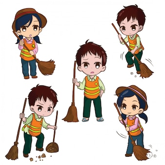 Set cute street sweeper cartoon. job concept.
