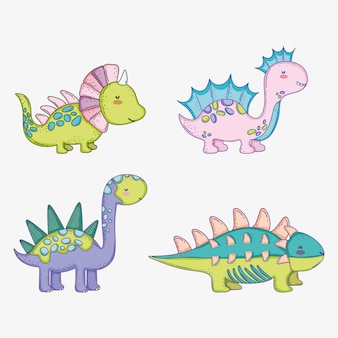 Set cute styracosaurus