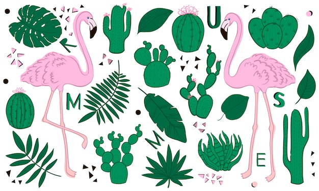 Set of cute summer icons: green tropical leaves, cactus and flamingo. cartoon style.