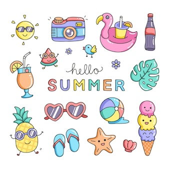 Set cute summer icons hand drawn stock vector